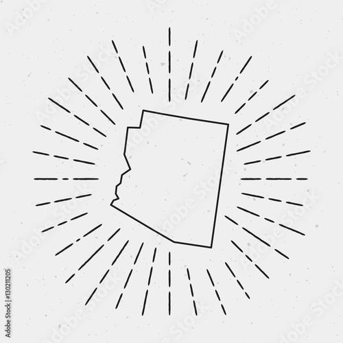Vector USA Map Outline with Retro Sunburst Border. Hand Drawn ...