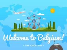 Welcome To Belgium Poster With Famous Attraction Vector Illustration. Travel Design With Futuristic Modern Building. Famous Architectural Landmark, Worldwide Traveling Concept, Tourist Agency Banner