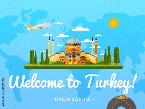 Photo  Welcome to Turkey poster with famous attraction vector illustration