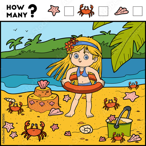 In de dag Kinderkamer Counting Game for Children. Educational game. Girl and background