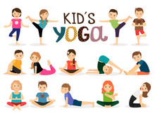 Young Kids In Different Yoga Poses On White Background. Vector Illustration