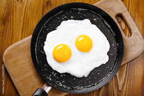 Foto op Plexiglas Gebakken Eieren Fried eggs meal in a frying pan for delicious healthy breakfast. Traditional international breakfast food, top view.