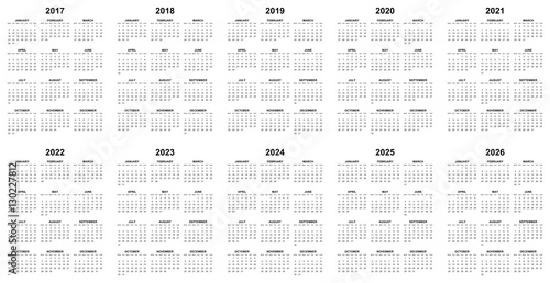 Fotografering  Simple editable vector calendars for year 2017 2018 2019 2020 2021 2022 2023 202
