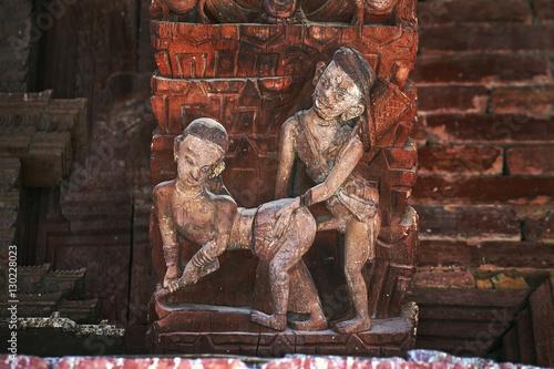 Erotic kamasutra carvings on the roof of Jagannath Temple on Durbar square in Kathmandu