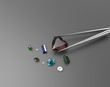 Collection of gemstones. 3D illustration