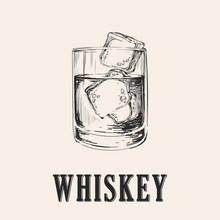 Whiskey Glass. Hand Drawn Drin...