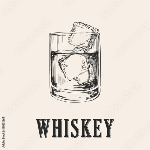 Whiskey Glass. Hand Drawn Drink Vector Illustration Canvas Print
