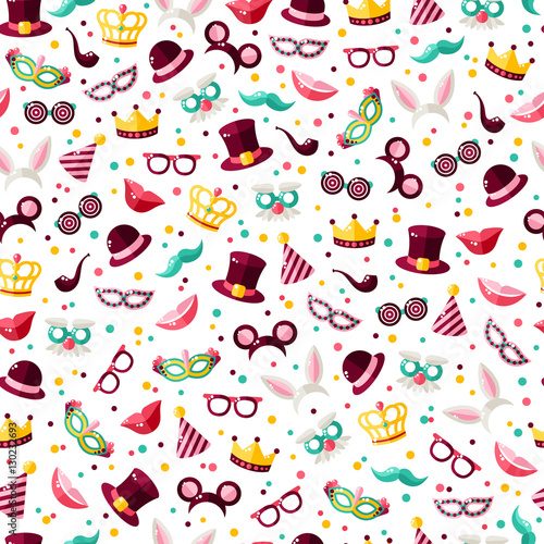 Cotton fabric Seamless pattern with carnival mask and confetti