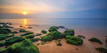 Algae Rocks Long Exposure Sunset