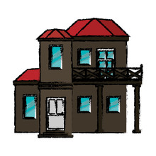 Drawing House With Balcony Red Roof Vector Illustration Eps 10