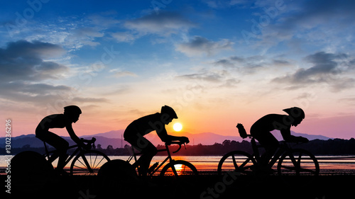 Printed kitchen splashbacks Cycling Cycling on twilight time