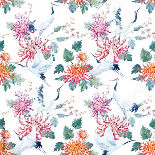 Cotton fabric Watercolor crane pattern