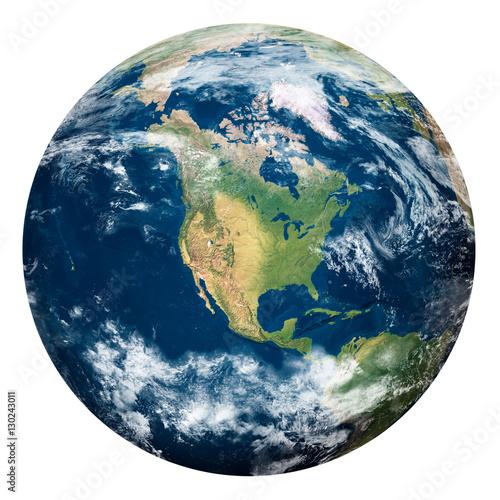 Fotografie, Obraz  Planet Earth with clouds, North America - Pianeta Terra con nuvole, Nord America