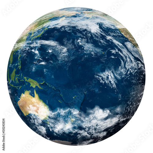Fotografie, Obraz  Planet Earth with clouds, Oceania - Pianeta Terra con nuvole, Oceania