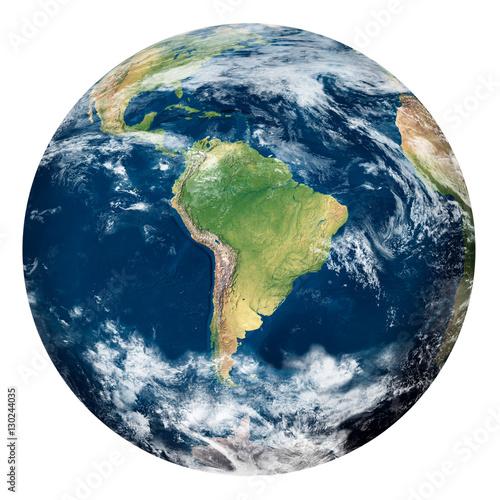 Fotografie, Obraz  Planet Earth with clouds, South America - Pianeta Terra con nuvole, Sud America