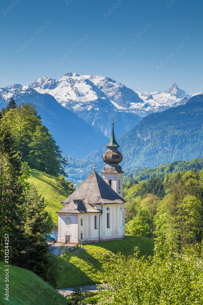 Fototapety, obrazy: Pilgrimage church of Maria Gern in springtime, Berchtesgadener Land, Bavaria, Germany