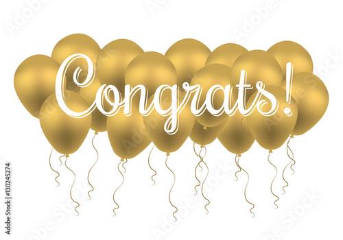congrats text congratulations banner with golden balloons win