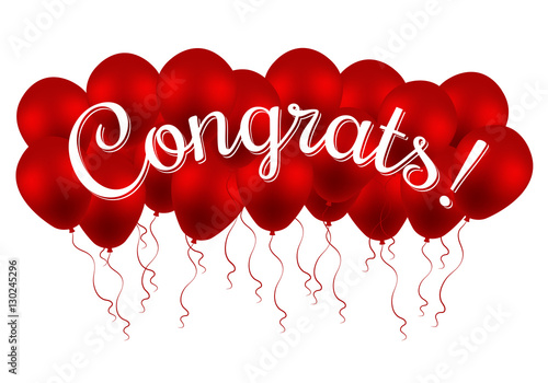 Congratulations Banner With Balloons Win Birthday Party Sale Opening