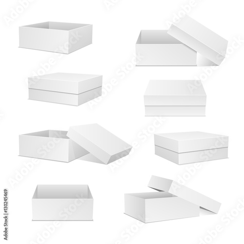 White boxes collection. Square box set. Open and closed presents ...