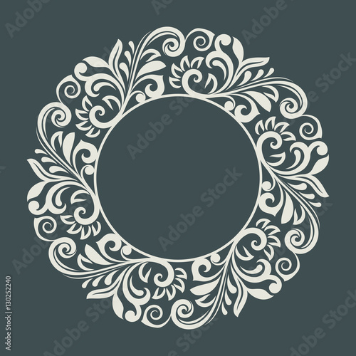 Valokuva  Abstract winter floral frame vector template