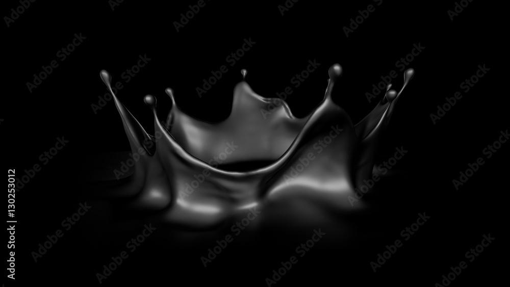 Fototapety, obrazy: Black splash, 3d illustration, 3d rendering.