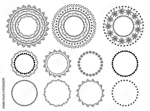 Fototapety, obrazy: Ornamental brushes set. Vector wreath, circle, round, garland, label elements.
