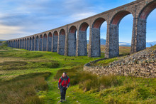 Pen-y-ghent And Ribblehead Viaduct On Settle To Carlisle Railway, Yorkshire Dales National Park, North Yorkshire, UK
