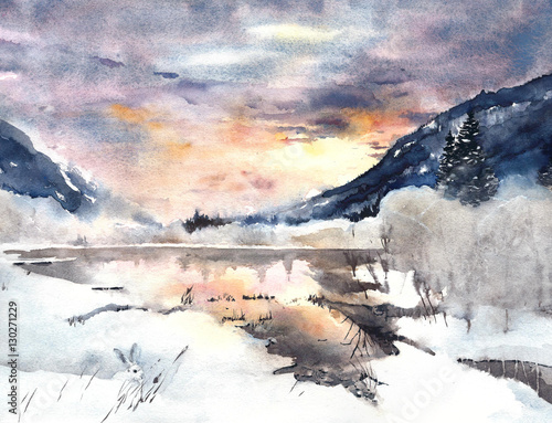 do-sypialni-zimowy-krajobraz-gory-jezioro
