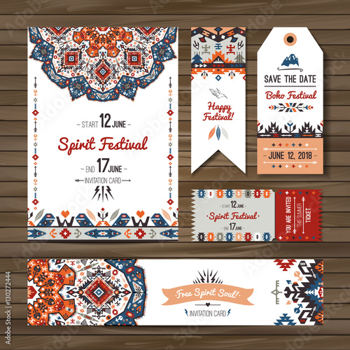 Photo sur Aluminium Style Boho Collection of banners, flyers or invitations with geometric elements. Flyer design in bohemian style