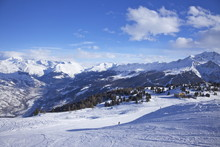 Ski Slopes At La Plagne Looking To Mont Blanc, Savoie, French Alps, France