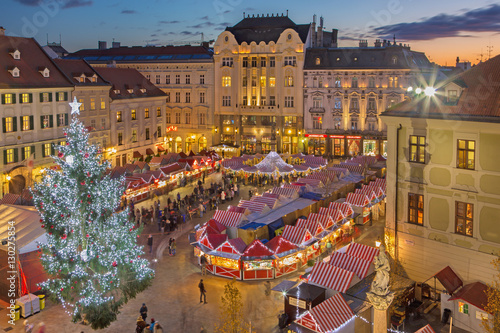 BRATISLAVA, SLOVAKIA - NOVEMBER 28, 2016: Christmas market on the Main square in evening dusk.