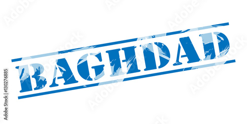Fotografija  baghdad blue stamp on white background