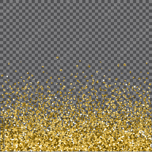 Gold glitter background. Gold sparkles on chechered background. Creative invitation for party, holiday, wedding, birthday. Vector illustration.