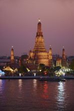 Wat Arun (Temple Of The Dawn) And The Chao Phraya River By Night, Bangkok