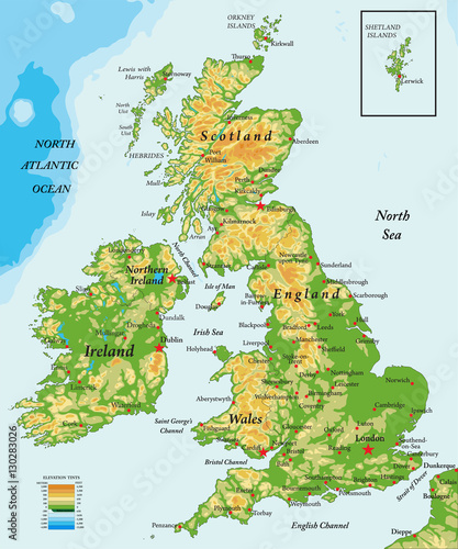 United Kingdom and Ireland-physical map Canvas Print