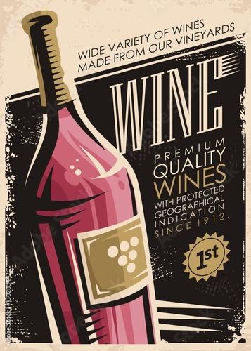 projekt-plakatu-retro-wina-z-butelki-czerwonego-wina-na-stary-tlo