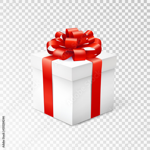 Fotografija Gift box with red ribbon isolated on transparent background