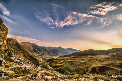 Majestic sunset in the mountains landscape. Dramatic sky. Carpathian, Ukraine, Europe.