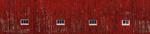 Red Barn Wall With Windows Panorama
