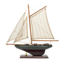 Model Wooden Yacht With Sails Isolated On White