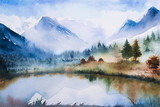 Zimowy krajobraz. Akwarela ilustracja - 130288601