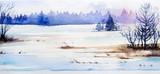 Winter Landscape. Watercolor illustration. - 130289032