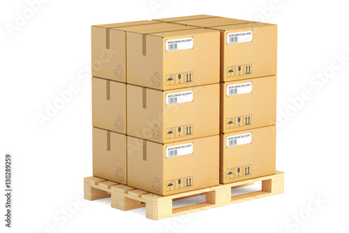 Fotografia Wooden pallet with parcels. Shipping and logistics concept, 3D r