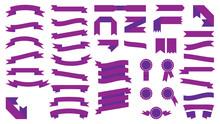 Set Of Beautiful Festive Colored Purple Ribbons. Vector Illustra