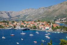 View Of Old Town And Adriatic Coast, Cavtat, Dubrovnik Riviera, Dalmatian Coast, Dalmatia, Croatia