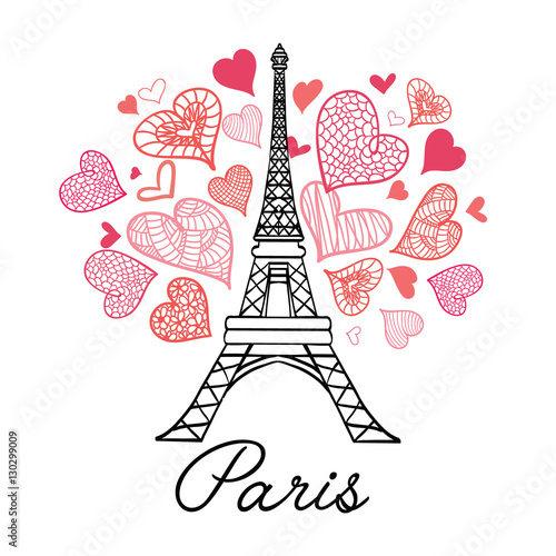 Poster Doodle Vector Eifel Tower Paris Bursting With St Valentines Day Pink Red Hearts Of Love. Perfect for travel themed postcards, greeting cards, wedding invitations.
