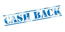 Cash Back Blue Stamp On White Background