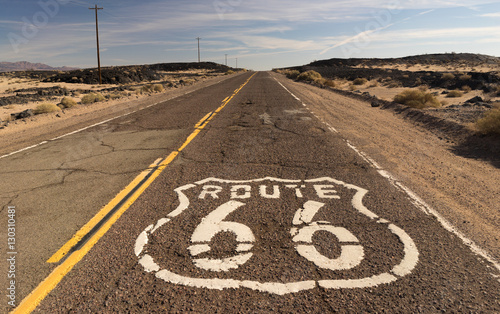 Photo  Rural Route 66 Two Lane Historic Highway Cracked Asphalt
