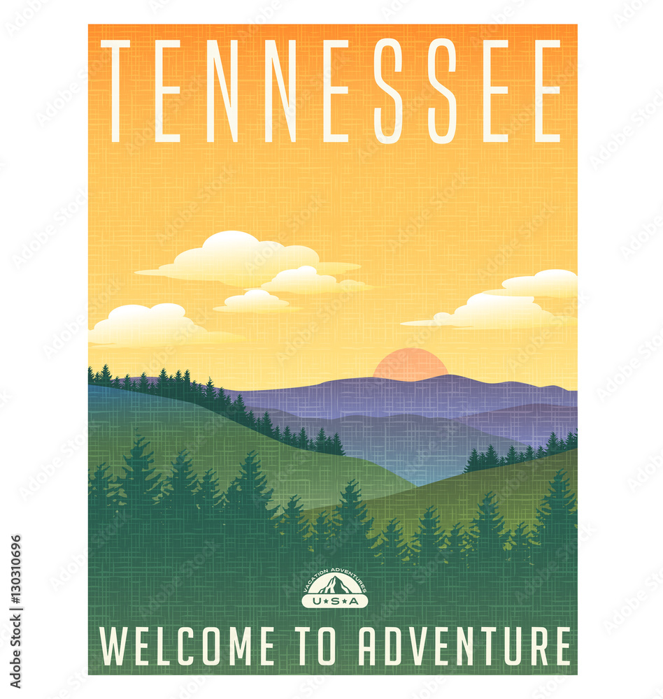 Fototapeta Tennessee, United States travel poster or luggage sticker. Scenic illustration of the Great Smoky Mountains with pine trees and sunrise.