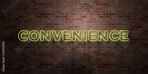 Fotografie, Obraz  CONVENIENCE - fluorescent Neon tube Sign on brickwork - Front view - 3D rendered royalty free stock picture
